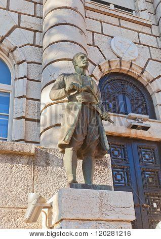 Statue Of A Montenegrin Man In Cetinje, Montenegro