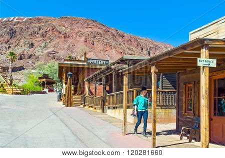 Calico, U.S.A. - May 28, 2011: California, wooden constructions in the old mine town near the Route 66.