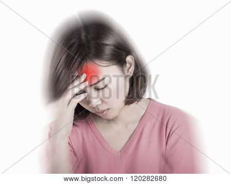 Women having headache migraine hangover and insomnia.