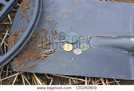 Searching with metal detector - equipment and coins