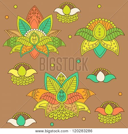 Beautiful Lotus: Ornament Vector Yoga. Hand Drawn Element. Flower Ornament Vector. Flower Ornament For Spring. Flower Ornament Set. Picture For Design, Kaleidoscope, Medallion. Vector Flower Lotus.