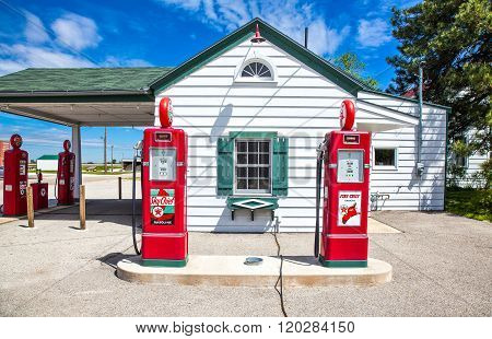 Dwight, U.S.A. - May 17, 2011: Illinois, Route 66, the old Texaco gas station.