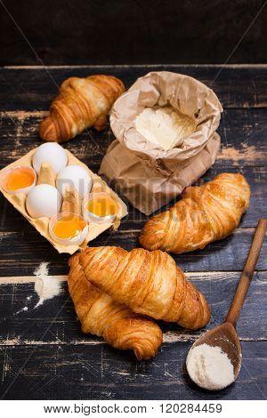 Croissants, Flour, Eggs, Spoon, Rolling Pin