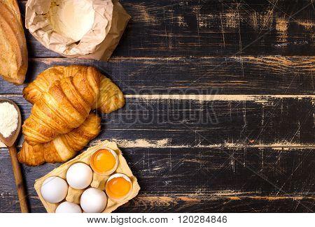 Croissants, Baguette, Flour, Eggs, Spoon Background