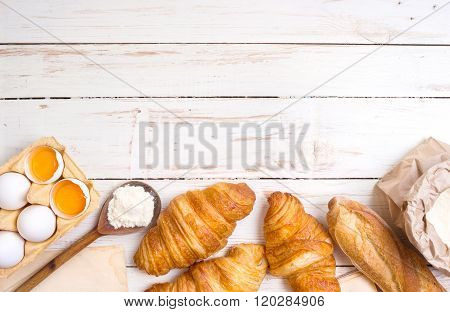 Croissants, Baguette, Flour, Eggs Background
