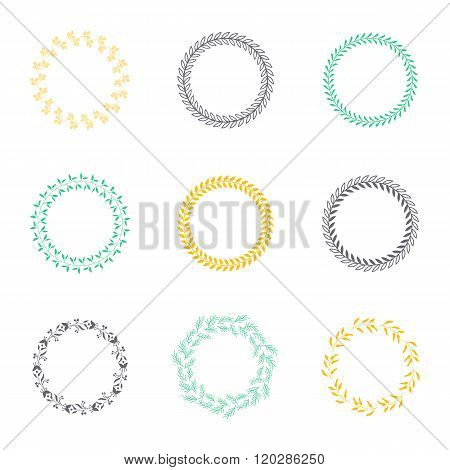 Set silhouettes circular laurel foliate and wheat wreaths depicting an award achievement heraldry nobility and the classics vector illustration.
