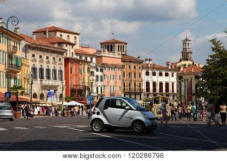 Verona, Italy - August 31, 2012: Small Car Smart On The Main Square In Verona - Piazza Bra
