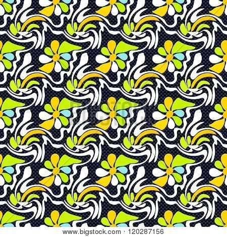 Abstract Flowers On A Black Background Seamless Pattern Graffiti