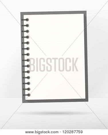 Open blank realistic notepad notebook with spiral next to gray wall