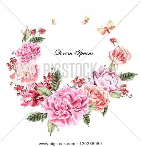 Beautiful watercolor card with Peony, roses flower and berries.