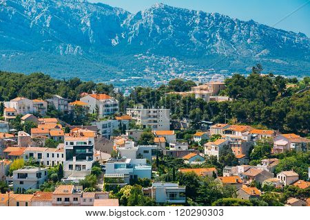 Urban scenic view, cityscape of Marseille, France. Sunny with bl
