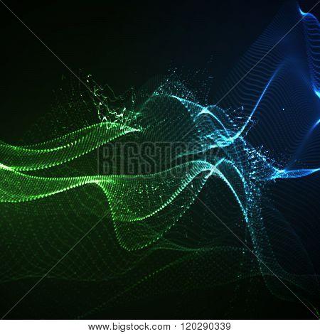 3D illuminated neon digital wave