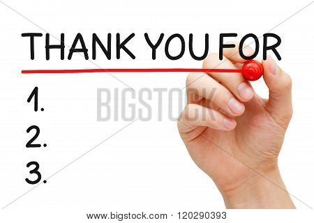 Thank You For List