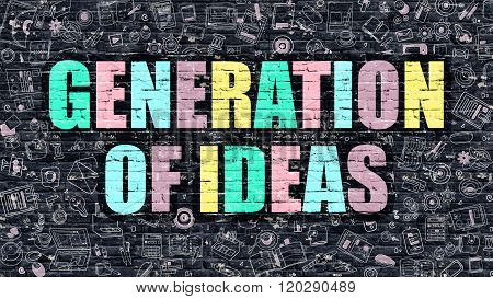 Generation of Ideas Concept. Multicolor on Dark Brickwall.