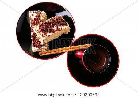 dark chocolate cake with black french coffee