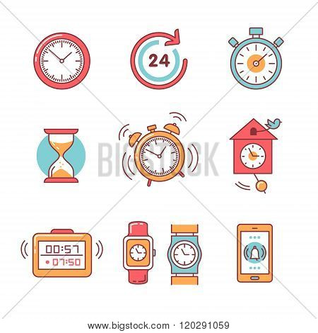 Types of alarms clocks, timers and watches set