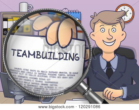 Teambuilding through Magnifying Glass. Doodle Concept.