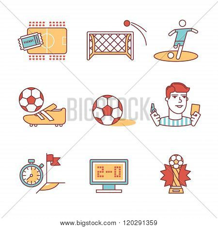 Soccer game signs set. Thin line art icons