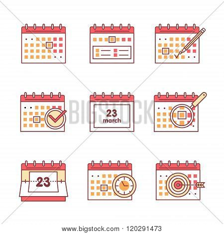 Calendar set. Thin line art icons