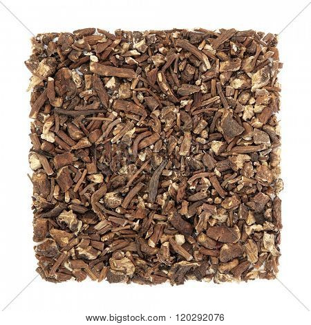 Dandelion root herb used in natural alternative medicine over white background. Taraxacum.