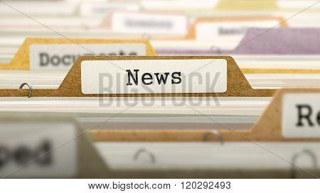 News Concept on Folder Register.