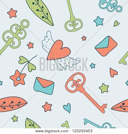 Seamless vector floral pattern. Love illustration of cute keys,