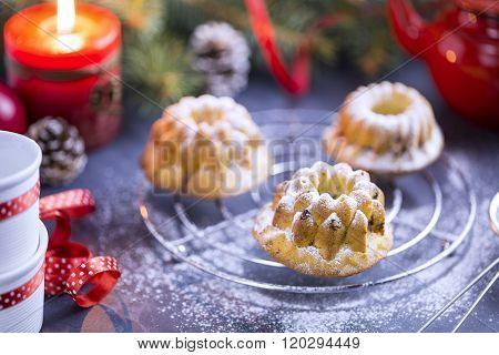 Mini Bundt Cherry Cakes sprinkled with Powdered Sugar