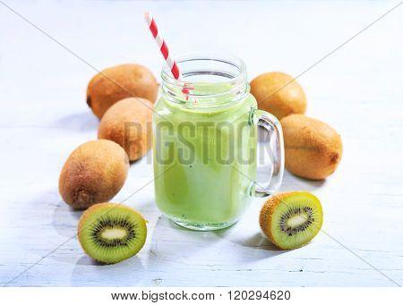 Jar Of Kiwi Smoothie
