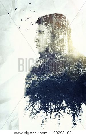 Double Exposure Of Young Thoughtful Man Who Loves Nature