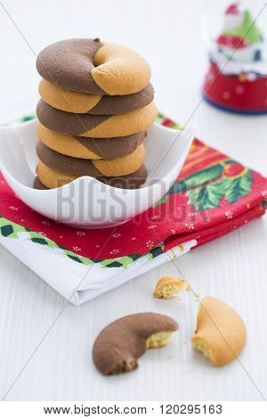 Duo tone Donut Cookies for New Year's Day with Christmas decoration