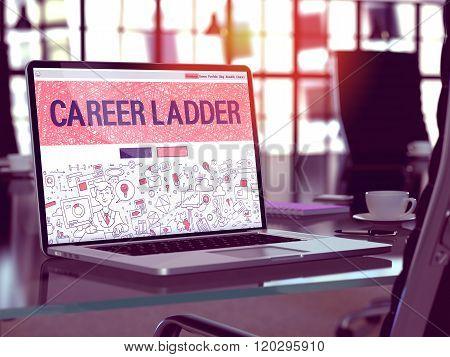 Career Ladder Concept on Laptop Screen.