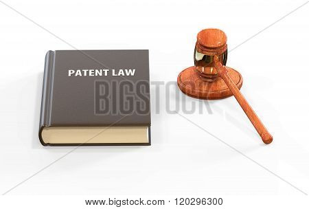 Llustration Of Legal Attributes: Gavel And Patent Law Book