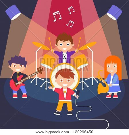 Kids Rock Band, Vector Illustration