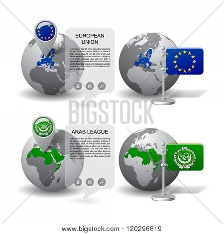 Gray Earth globes with designation of European Union and Arab League countries location, with map markers and flags. Vector illustration