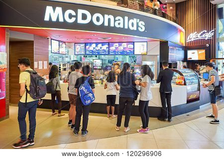 BANGKOK, THAILAND - JUNE 21, 2015: interior of McDonald's restaurant. McDonald's is the world's largest chain of hamburger fast food restaurants
