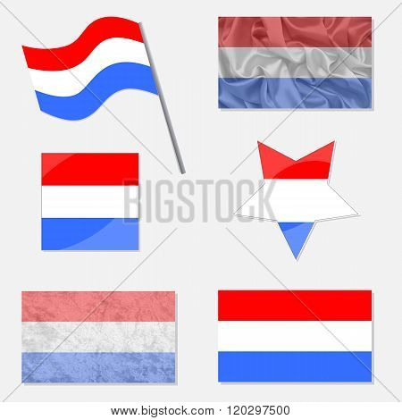 Set With Flags Of Luxembourg
