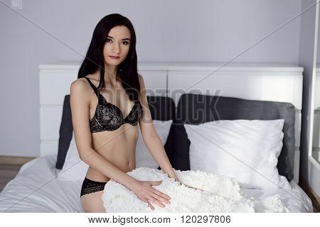 Young Beautiful Seductive Brunette In Black Lingerie