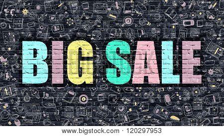 Big Sale Concept with Doodle Design Icons.