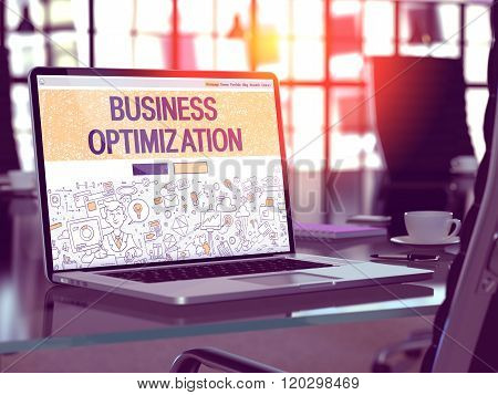Business Optimization - Concept on Laptop Screen.