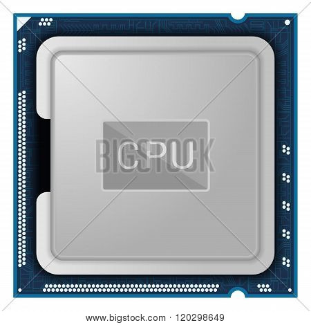 Processor. Computer Hardware isolated on white background. CPU icon or symbol.