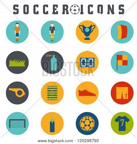 Vector Collection Of Flat Icons On The Theme Of Football