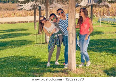 Group Of Friends Having Fun And Playing Outdoors