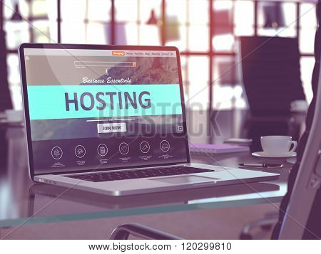 Laptop Screen with Hosting Concept.