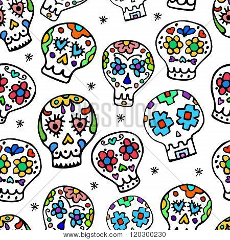 Sugar sculls  doodle cute seamless pattern. Background, texture textile