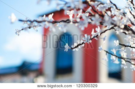 background artificial flowers on the tree