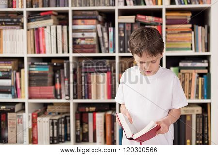 Little Boy Standing In Front Of Bookshelf And Reading