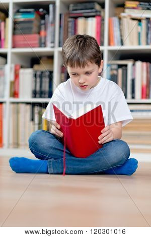 Little Boy Child Reading A Red Book