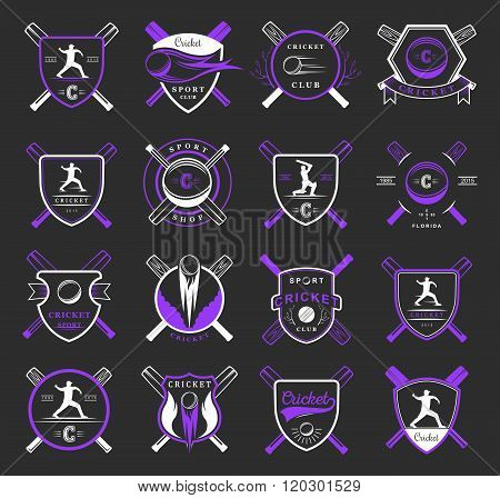 Set of vector logos and badges cricket. Collection of vintage signs symbols and emblems sports game of cricket on black isolated background. Set of cricket team emblem design elements