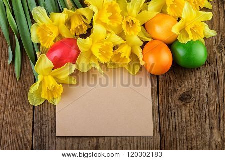 Daffodil flowers Easter Card with text space