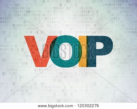 Web development concept: VOIP on Digital Paper background
